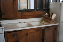Vintage Sink. Vintage Mission Oak Base Cabinet