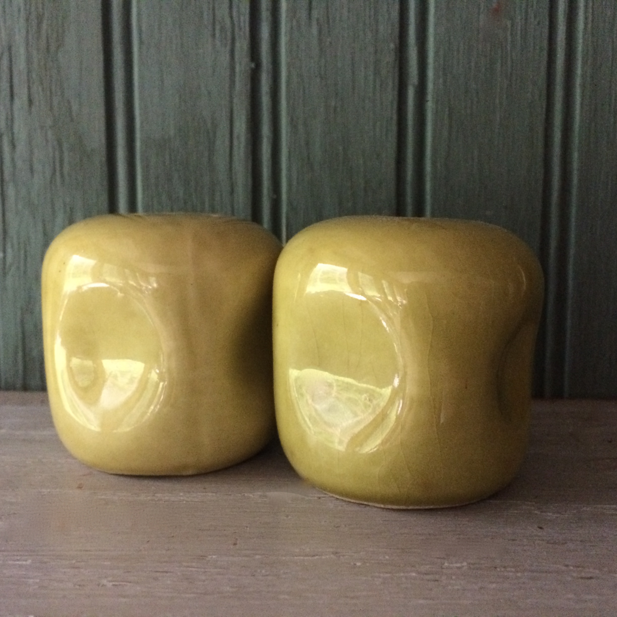 russell wright chartreuse salt and pepper shakers – for you  - russel wright american modern salt and pepper shakers