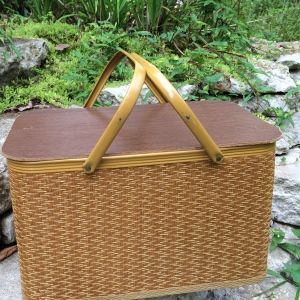 """We are giving away this vintage Redmon Picnic Basket (18"""" L. X 11"""" W. X 11""""H.)"""