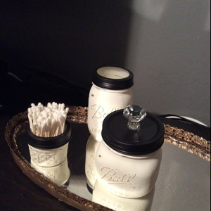 Vintage Filigree Mirrored Tray with Vanity Jars. Ball Jars painted white - Voila! New use for Ball Jars.