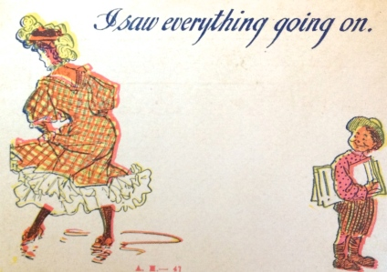 Gibson Girl Style, Antique Postcard, I Saw Everything Going On