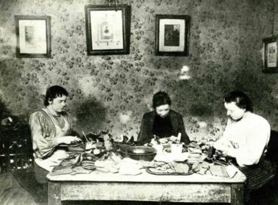 Women Workers at Home Making Baby Booties