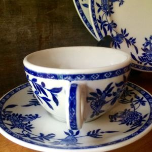 Blue and White Ironstone Cup and Saucer, Bailey-Walker China